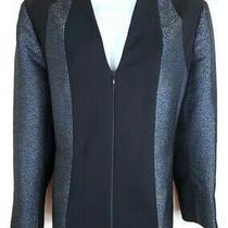 Lafayette 148 Womens Jacket Blazer Size 14 L Black Zip Front Long Sleeve Lined Photo