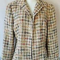 Lafayette 148 Womens Wool Blend Woven  Multicolor Blazer Hook Eye Closure Sz. 14 Photo