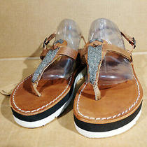 Laidback London Anthropologie Thong Sandal Women 40 / 9 Beaded Handmade Leather  Photo