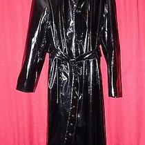 Lakeland Elements Mans Long Wet Look Black Shiny Raincoat & Hood Pu Pvc 48 Chest Photo