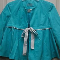 Lal Live a Little Turquoise Swing Jacket 3/4 Sleeves Cotton/nylon S Nwot Photo