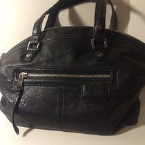 Lamb Black Leather Shoulder Bag Missing Strap and Name Plate Photo