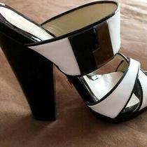 Lamb Gwen Stefani Blk/wht Patent Leather Platform Sandals Size 6.5 Photo