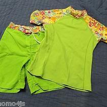 Land's End 12 14 Board Shorts Rash Guard Swimsuit 2 Piece Set Green  (B-7) Photo