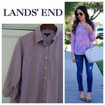 Lands End Button Down Shirt Top Oxford Blouse 22w 3x No Iron Purple Striped   L Photo
