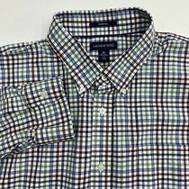 Land's End Button Up Shirt Men's Size Xl Blue Green Gray Check No Iron Twill Photo