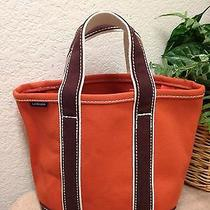 Land's End Orange Brown Canvas Small Size Satchel Tote Shopper Purse Handbag Bag Photo