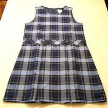 Land's End Plaid Blue Yellow Dress Romper Uniform Size 16 New W/o Tags School  Photo