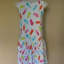 Land's End Popsicle Dress Girls Sz Large Lolly Sleeveless White Blue Pink Yellow Photo