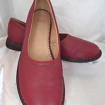 Land's End Red Leather Flats - Size 7.5m - Gently Worn Photo