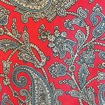 Land's End Red W/blue & Gray Paisley Men's Silk Necktie Photo