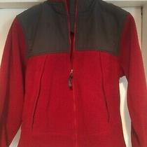 Lands End sz.12/14 Women Fleece Jacket Red/gray Photo
