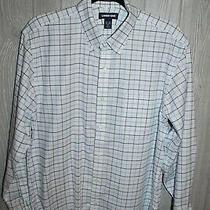 Land's End Tailored Fit Plaid Button Down Shirt Blue/white Size 16/32  Euc Photo