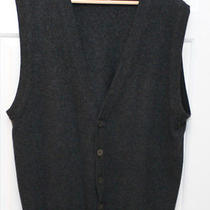 Lands' End 100% Cashmere Charcoal Gray Vest Mother of Pearl Buttons 42-44 Large Photo