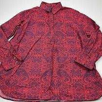 Lands End 18 Red Blue Paisley Button Collar Long Sleeve Top Shirt Women Cotton Photo