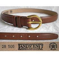 Lands End Belt Skinny Brown Leather Gold D-Shaped Women's 28 (Small) Photo