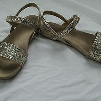 Lands End Big Girls Size 6m Gold Rainbow Glitter Sparkle Sandal Flats Low Heel Photo