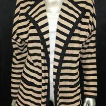 Lands End Black/beige Striped Cardigan Sweater Jacket Knit Blazer Sz S 6-8 Photo