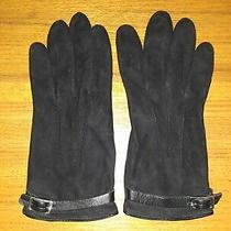 Lands' End Black Sueded-Leather Lined Gloves Womens Size Large Photo