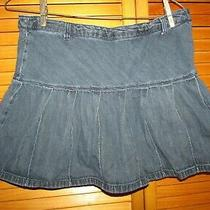 Lands End Blue Jean Skirt Skort Girl's Size 10 Plus length13.50 Waist28 Guc Photo