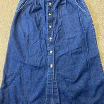 Lands End Blue Long Jean Skirt Size 8 Petite a-Line Pockets Belt Stretch Ec Photo