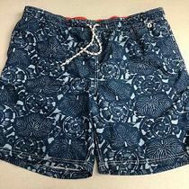 Lands' End Board Shorts Mens Xl (40-42) Blue Drawstring Waist Floral  Swimwear Photo