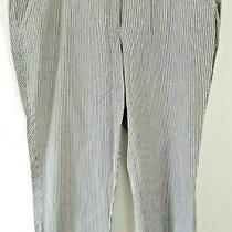 Lands' End Crop Pants 16 Fit 1 Striped Gray White Pockets Nautical Belt Loops Photo