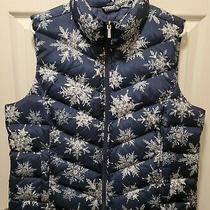 Lands' End Down Puffer Vest Blue & White Snowflake Print Size Xl/18  Mint Cond Photo