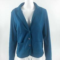 Lands End Fleece Blazer Size Small Teal Blue Anchor Buttons Solid Jacket Womens Photo