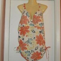 Lands' End Floral Tankini Top Used Shelf Bra W Padding Ruched Hem Multicolor 18d Photo