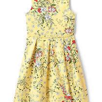 Lands End Girl Plus Easter Dress Size 8 Yellow Springtime Bloom Retailer 72.9- Photo