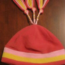 Lands End Girls Coral Pink Fleece Winter Hat Cap Tassels Size Medium 5-6 Euc Photo