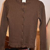 Lands End Girls M Brown Cabled Cardigan Ruffled Cuffs and Hem Nice Photo