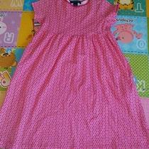 Lands End Girls Pink Short Sleeve Cotton Floral Print Dress Size 5 Spring Photo