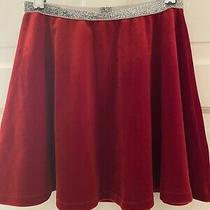 Lands' End Girls Red Velour Skirt With Silver Sparkly Band Size 6x7 Free Ship Photo