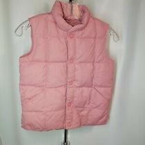 Lands End Girls Youth Quilted Down Snap Front Puffer Vest Pink Size L 6x-7 Photo