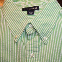 Lands' End Green & White Striped Cotton Ls Mens Dress Shirt L (16-16 1/2) E-715 Photo