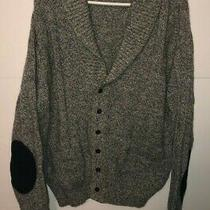 Lands End Grey Wool Thick Shawl Collar Elbow Patch Cardigan Sweater Men's Sz Xl Photo