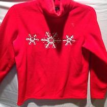 Lands End Holiday Themed Ladies  Red Fleece Pullover With Snow Flakes Photo