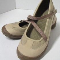 Lands End Khaki Terrain Mary Jane Shoes W/z-Strap  Womens 6.5 M Exc/ln Photo