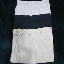 Lands' End Lot of 3 Khakis Chino Pants Tan Blue Mens 36 by 30  52a  Photo
