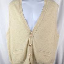 Lands' End Men's 100% Lamsbwool Cardigan Beige Sweater Vest - Large L U.k. E19c Photo