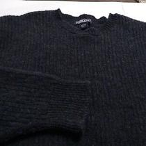 Lands End Men's Crewneck Very Thick 100% Wool Large Blue Mix Ls Sweater  Photo