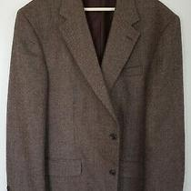 Lands End Mens Brown 2 Button 100% Lambs Wool Blazer Coat Jacket Sz 43 L Long Photo