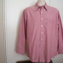 Lands End Mens Original Oxford Size 16/32-33 Red Pink Long Sleeve Dress Shirt  Photo