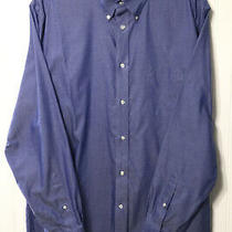 Lands End Mens Size 16-35 Button Down Oxford Dress Shirt Blue No Iron Photo