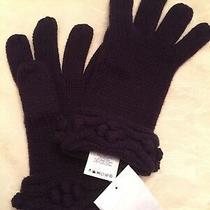 Lands End Merino Wool Gloves  Dark Purple Decorative Cuff  Thick Knit 1 Size Nwt Photo