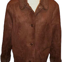 Lands End Micro Suede Jacket Coat Faux Shearling Chocolate Brown Womens Large  Photo