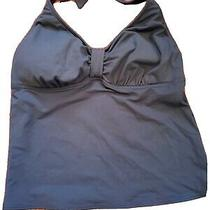 Lands End Navy Tankini Halter Top Size 14  Photo