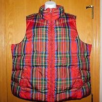 Lands' End Plaid Tartan Down Vest 2x Women's Red Navy 20-22w Puffer Zip Photo